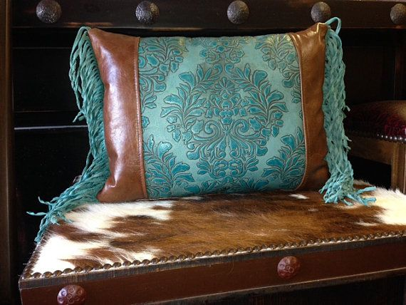 Turquoise Tooled leather Pillow by Rosiecorner on Etsy  Decor We Like  Pinterest  It is