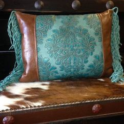 Living Room Design Ideas With Brown Leather Sofa Best Wall Decor For Small Turquoise Tooled Pillow By Rosiecorner On Etsy ...