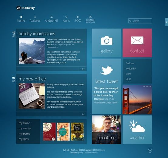 25 clean and modern web designs  Flats Blue tiles and Typography