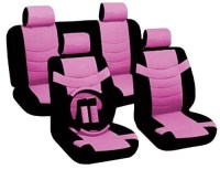 Two Tone PU Synthetic Leather Seat Covers Set 11pc Black ...