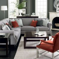 Bernhardt living room in grey, red, and silver. Brae