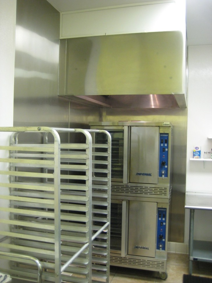 Commercial Kitchen Hood Installed Double Ovens