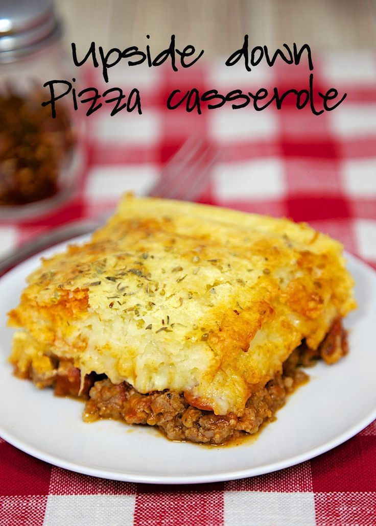 Upside Down Pizza Casserole Recipe – quick pizza casserole with the crust baked on top. Use your favorite pizza toppings. It was