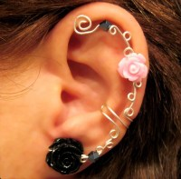 "Non Pierced Ear Cuff ""Roses are Pretty"" Cartilage Conch ..."