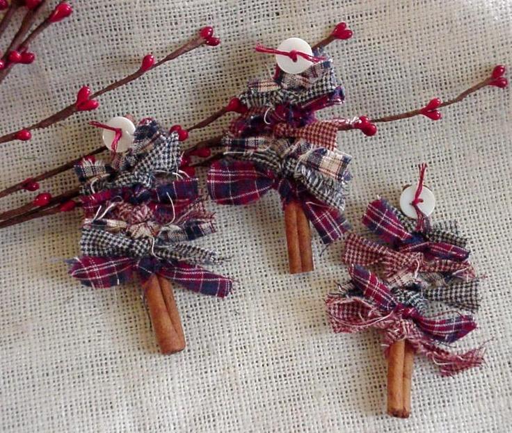 Patriotic Cinnamon Stick Tree Brooch Christmas Ornament