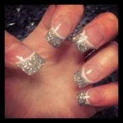 wedding nails. silver glitter tips