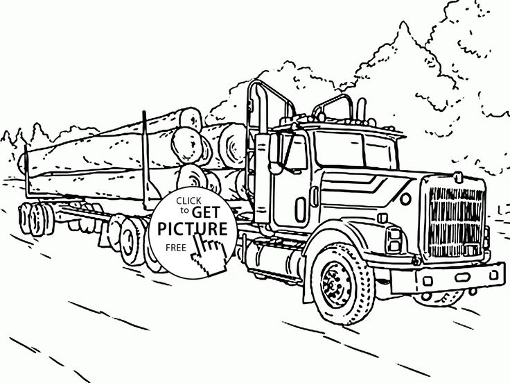 Log Truck coloring page for kids, transportation coloring