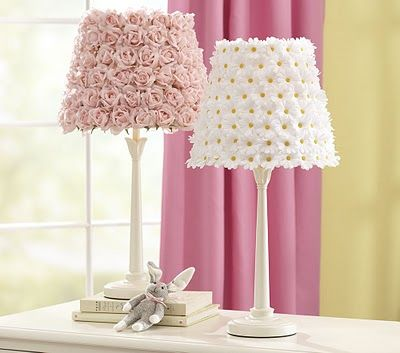 Plain white lampshades, buy flowers of any kind from a craft store and hot glue to the lamp shade