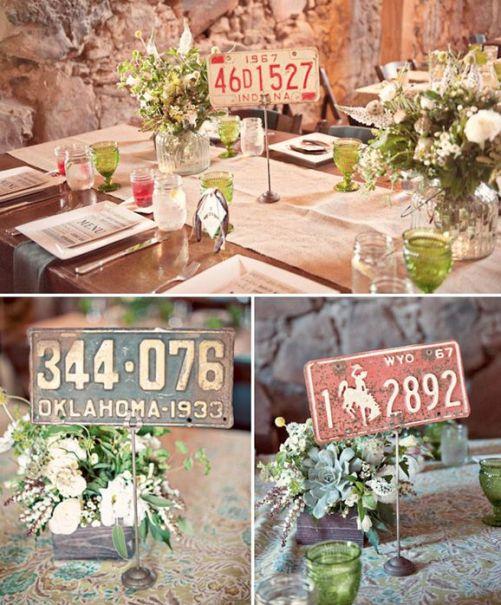 Números de mesas realizados con patentes antigüas. #IdeasParaBodas #Bodas #Wedding: