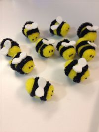 Pom pom bee party decor