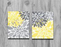 Yellow Gray Flower Petals Burst CANVAS or Print Set Home ...