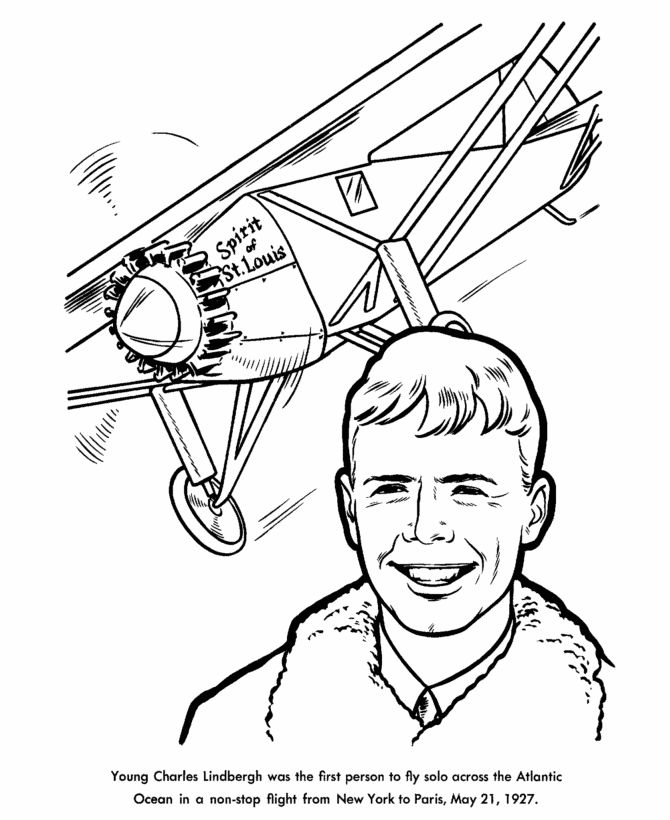 Lindbergh, Charles lindbergh and Coloring pages on Pinterest