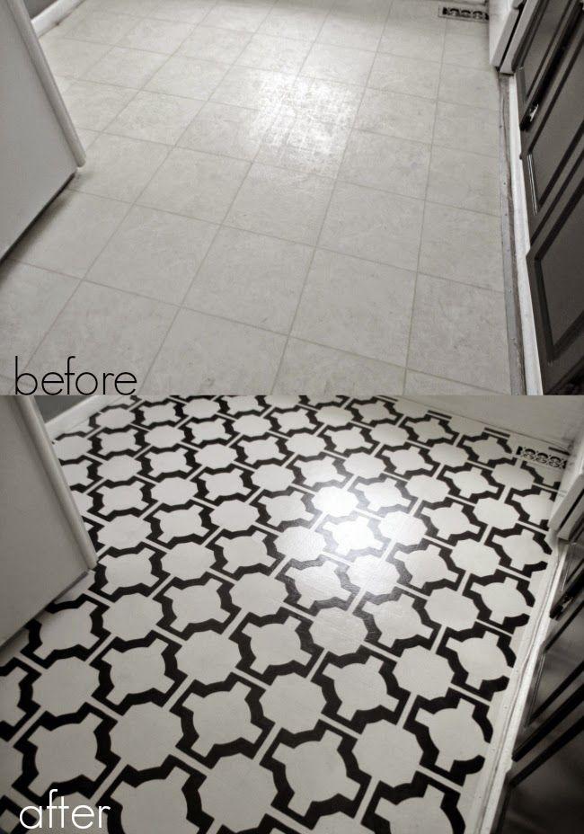 DIY Painted Vinyl Floors Turn gross dated sheet vinyl