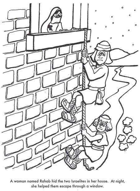 Rahab. Have the kids sponge paint a brick wall on