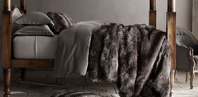 Exotic Faux Fur Blanket  Restoration Hardware Game of Thrones chic I so want this entire room in my home  Home  Pinterest  Game of thrones