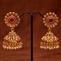 Anvis bridal pearl and rubies floral jhumkas | Accessories ...
