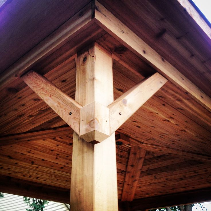 Covered porch gusset design Pergola tongue and groove cedar ceiling Deck Detail  Deck and