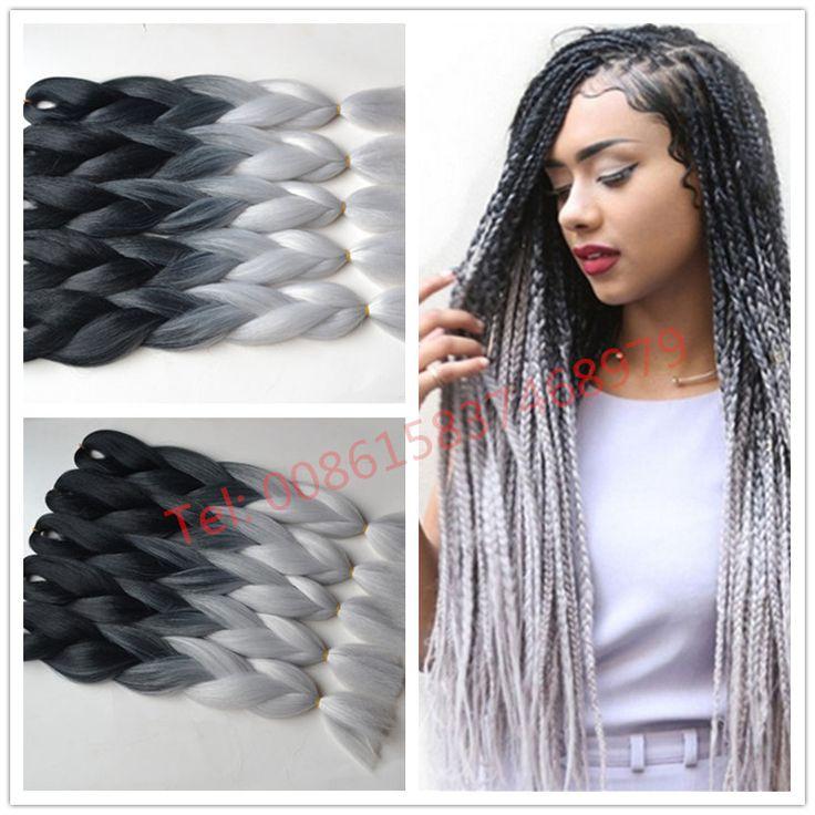 Free Shipping Ombre Kanekalon Braiding Hair Two Toned