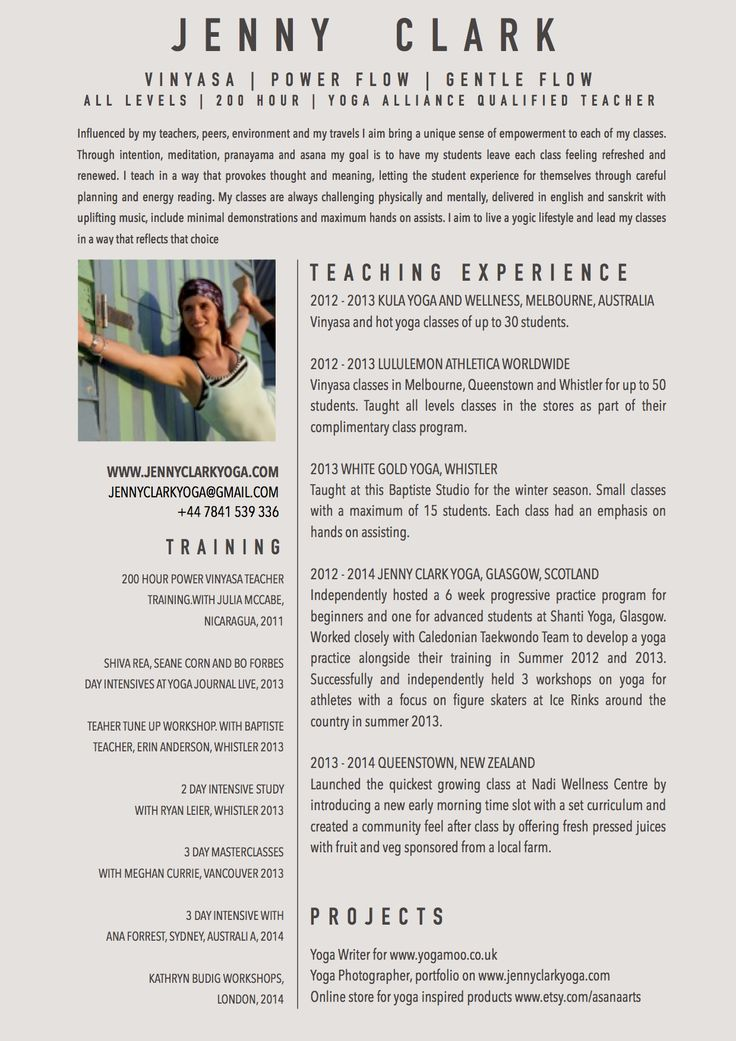 New Yoga Teacher Resume Sample Yoga Pinterest