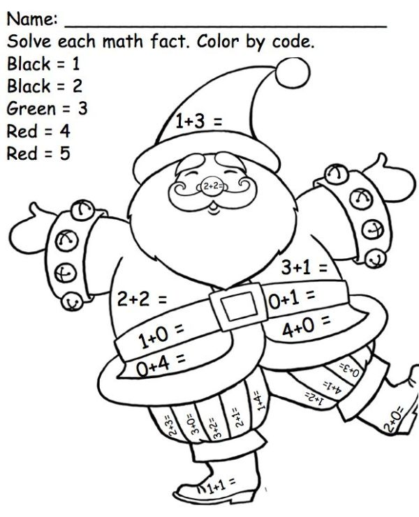 Kindergarten Math Facts Santa Color by Code Common