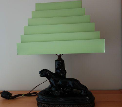 Vintage Mid Century 1950 Ceramic Panther TV Table Lamp Retro Green Metal Shade  Ceramics TVs