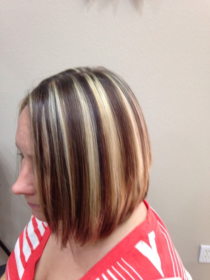 Chunky Highlights And Lowlights Cut Into A Line Bob By
