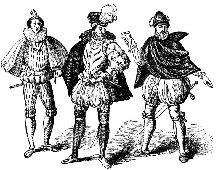 Men wore decorated doublets (jackets) with peascod bellies