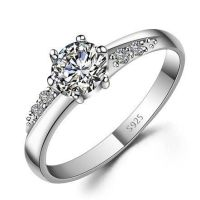 Custom Name Engraved Zircon Promise Ring for Her ...