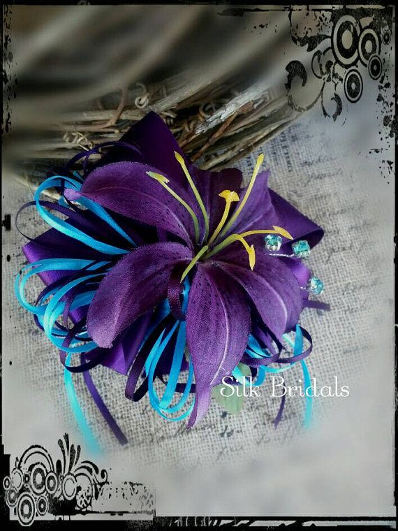 Purple tiger lily WRIST Corsage purple and turquoise ribbon Wedding Bridal flowers mother