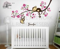 Girl Monkey Nursery Blossom tree branch wall decal with ...
