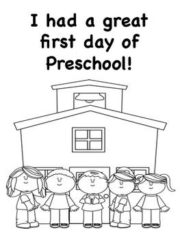 Preschool coloring pages, First day and Coloring pages on