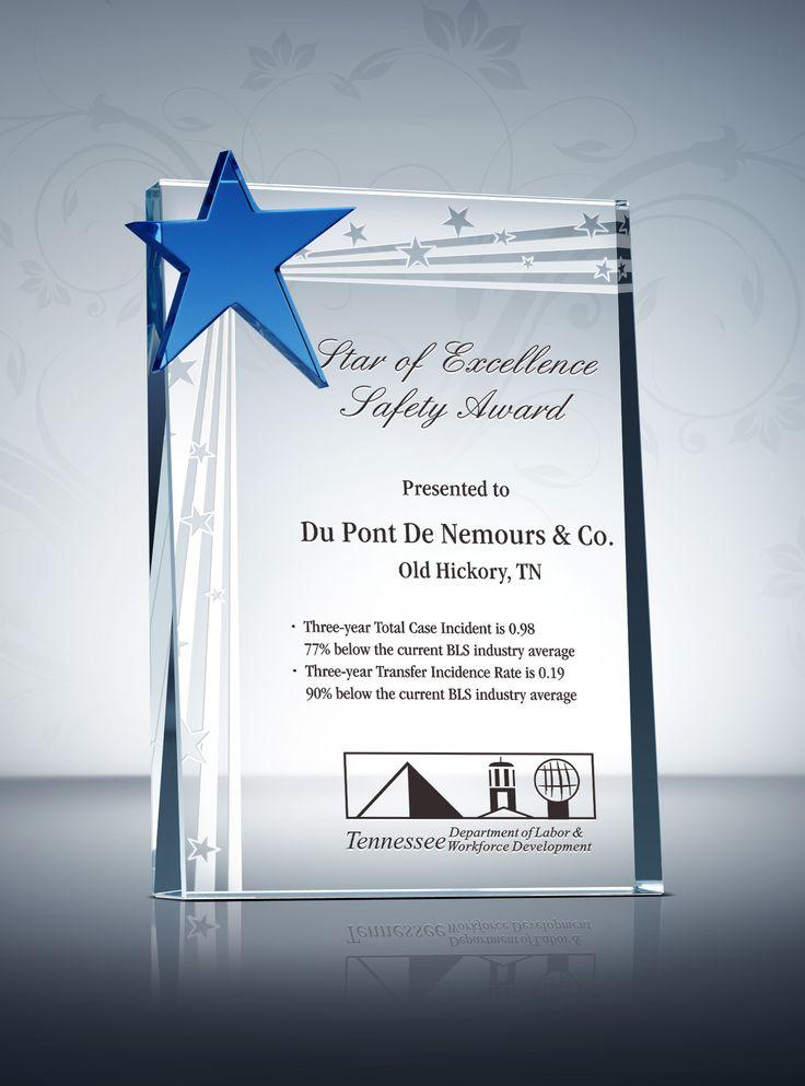 Safety Star Award Plaque  Sample Wording Ideas  Award