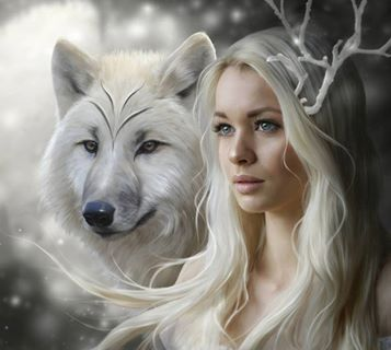 lovely Girl woman female White Wolf cute fantasy art amazing beautiful  Fantasy art