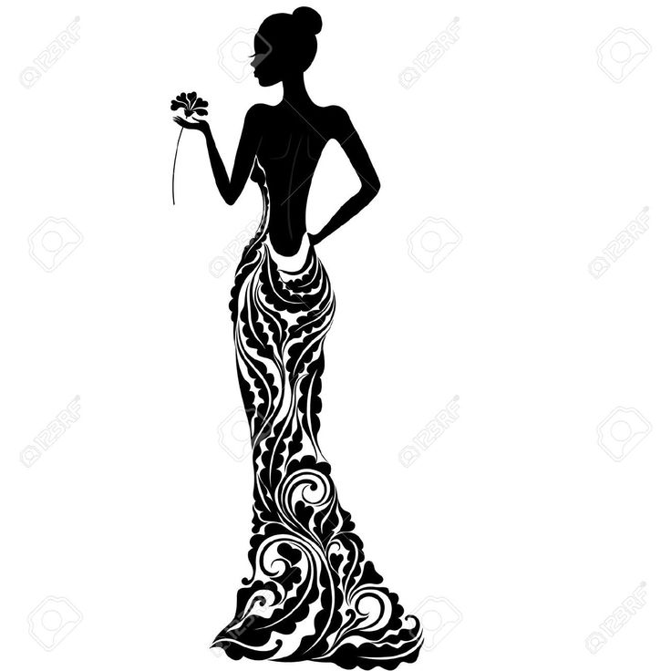 19088154-Girl-in-a-dress-with-floral-ornament-Stock-Vector
