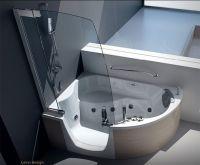 modern shower furniture: Modern Corner Bathtub With Shower ...
