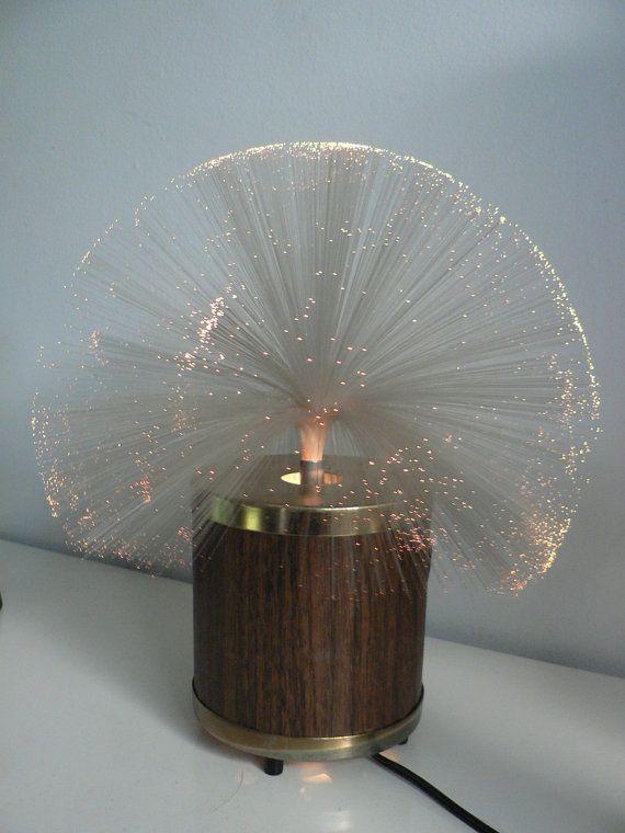 Vintage 1970s fiber optic rotating lamp  space age lamp