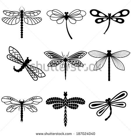 dragonflies black silhouettes