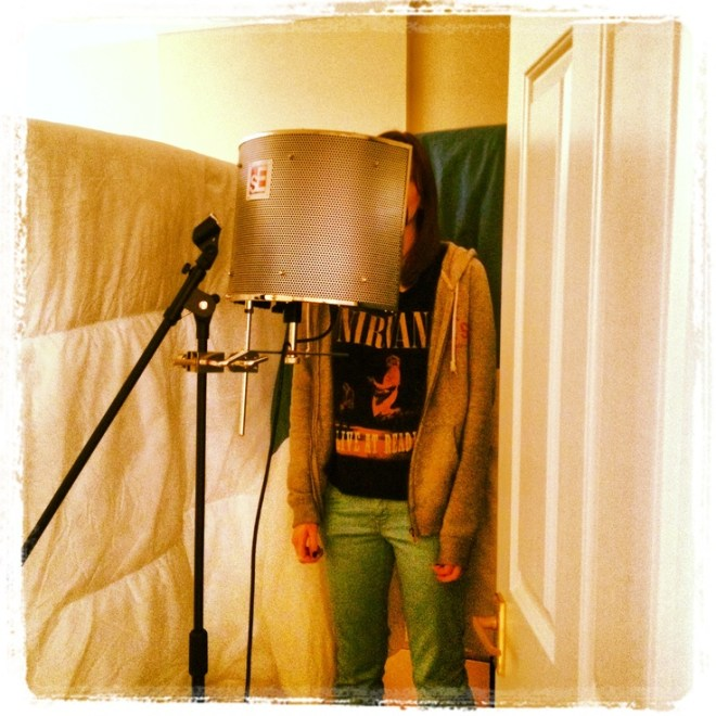 Laura in our homemade vocal booth recording her part for