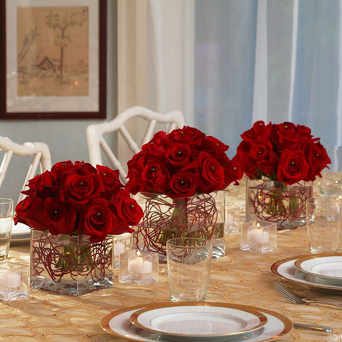 simple red rose centerpieces  Red wedding centerpice ideas  Pinterest  Pictures of 3 tier