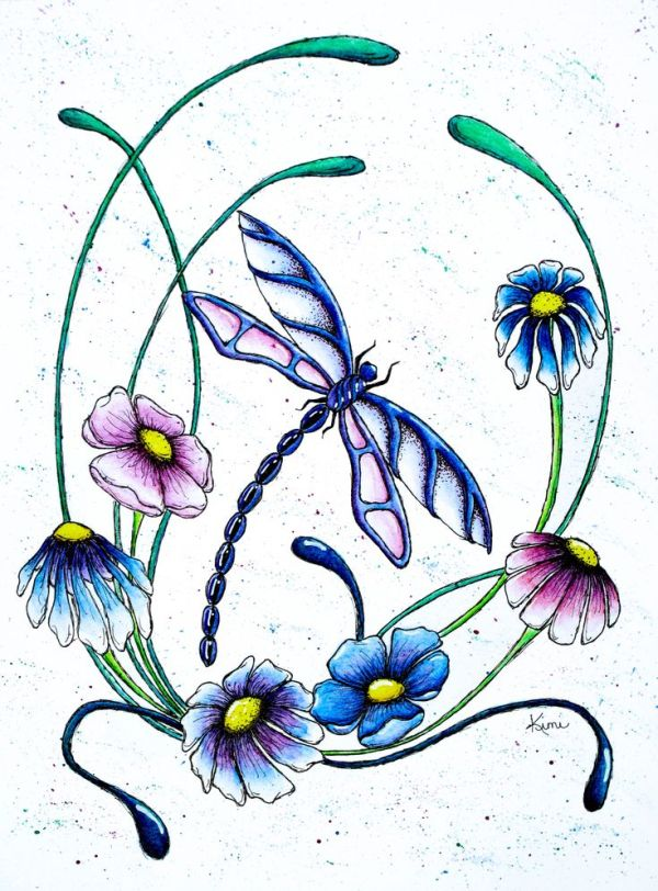 dragonfly and spring flowers
