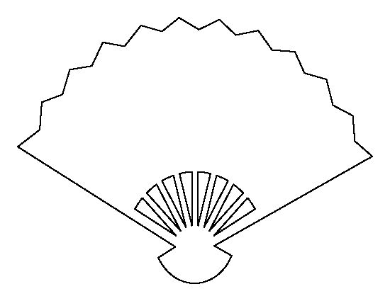 Fan pattern. Use the printable outline for crafts