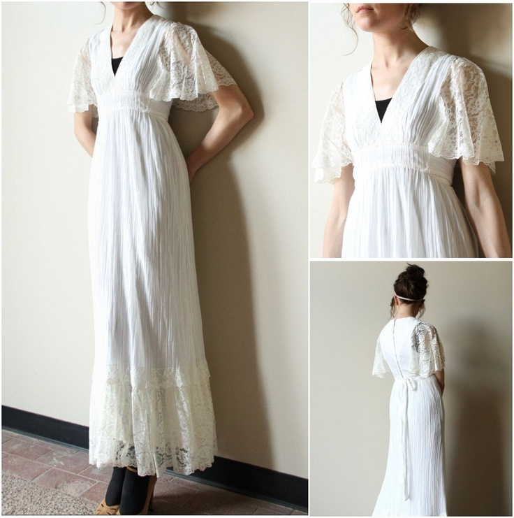 70s Boho Wedding Dress  vintage hippie ivory off white cream cotton gauze  lace peasant style