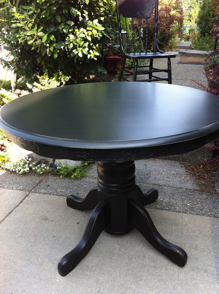 how to refinish wood chairs adult size bean bag antique oak table and 4 matching pressback refinished in black lightly distressed ...