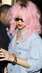 rihanna with cotton-candy pastel
