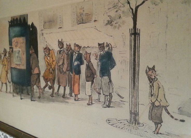 Vintage Boris OKlein Dogs and Cat of Paris Artist Signed framed colored litho Vintage  Art I