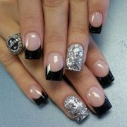 black french nail design with silver