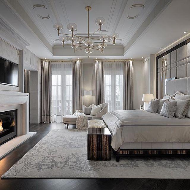 Bedroom Design Upholstered Headboard White Color Palette Stone Fireplace Area Rug Luxurious Bedroomsmodern Bedroomsmaster