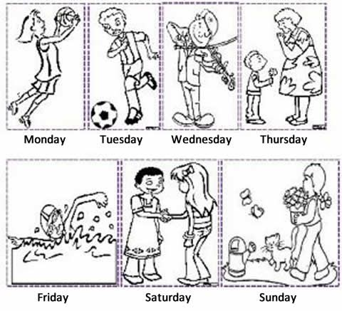 Days of the week what do they do? Exercise. On each day of