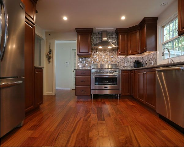 The Value Line Maple Cabinets with a Chestnut Stain are