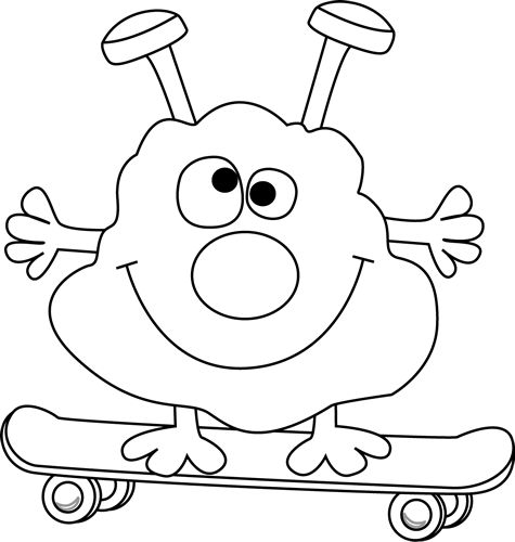 Black and White Black and White Monster on a Skateboard